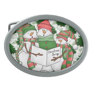 3 Snowman Carolers Belt Buckle