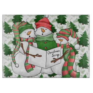 3 Snowman Carolers Cutting Board