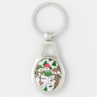 3 Snowman Carolers Keychain