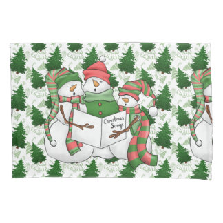 3 Snowman Carolers Pillowcase