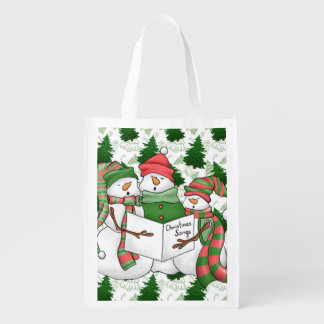 3 Snowman Carolers Reusable Grocery Bag