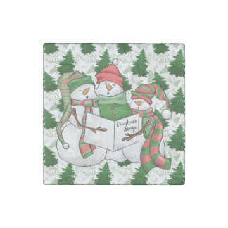 3 Snowman Carolers Stone Magnets