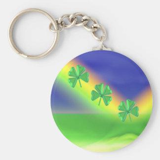3 St. Patrick's Day 4-Leaf Clovers Keychain