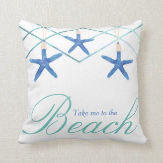 3 Starfish & Modern Lines Elegant Tropical Beach Throw Pillow