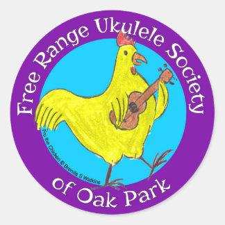 """3"""" Stickers Free Range Ukulele Society"""
