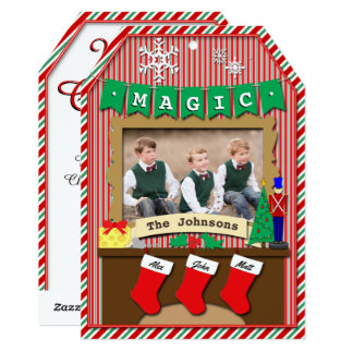 "3-Stocking Dated Twas the Night Before Christmas 5"" X 7"" Invitation Card"