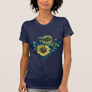 3 Sunflowers, Flower Art T-Shirts