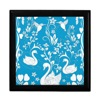 3 swans and hummingbirds white gift box