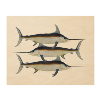 3 Swordfish on wood Wood Wall Art