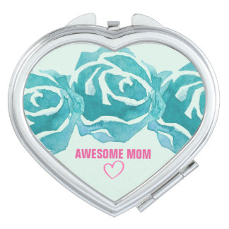 3 Teal Watercolor Roses Awesome Mom Makeup Mirror
