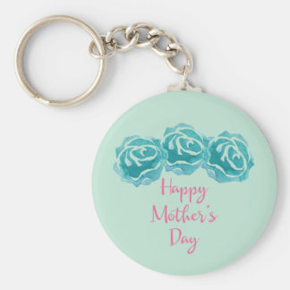 3 Teal Watercolor Roses Happy Mother's Day Keychain
