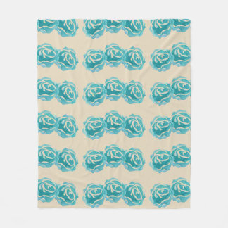3 Teal Watercolor Roses on Tan Backdrop Fleece Blanket