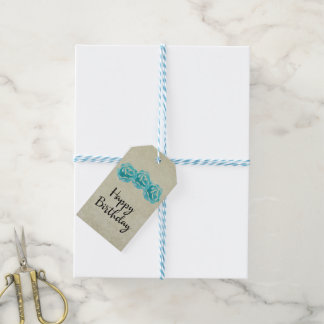 3 Teal Watercolor Roses on Tan Damask Birthday Gift Tags