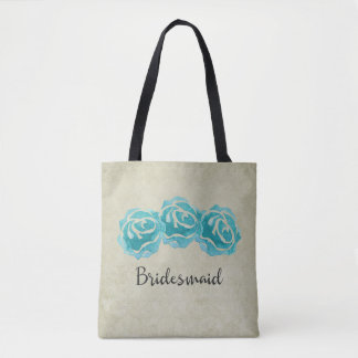3 Teal Watercolor Roses on Tan Damask Bridesmaid Tote Bag