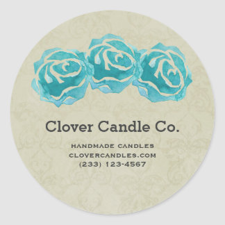 3 Teal Watercolor Roses on Tan Damask Business Round Sticker