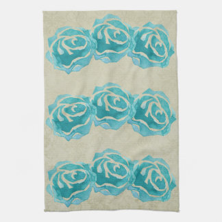 3 Teal Watercolor Roses on Tan Damask Pattern Kitchen Towel