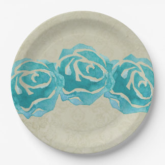 3 Teal Watercolor Roses on Tan Damask Pattern Paper Plate