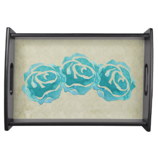 3 Teal Watercolor Roses on Tan Damask Pattern Serving Tray
