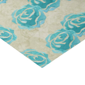 3 Teal Watercolor Roses on Tan Damask Pattern Tissue Paper