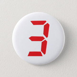 3 three red alarm clock digital number 2 inch round button