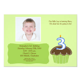 3 THREE year old CUPCAKE PHOTO BIRTHDAY INVITE
