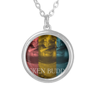 3 times the  broken buddha silver plated necklace