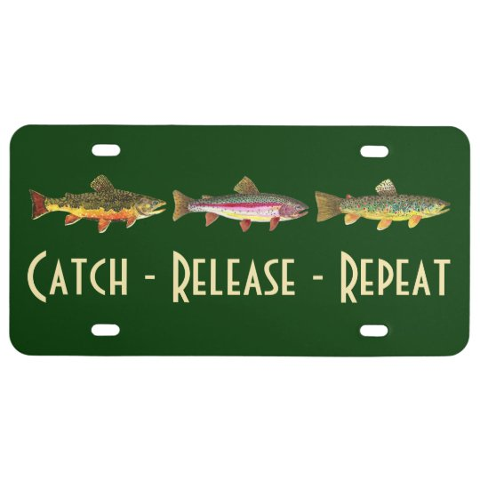 3 Trout: Brook, Rainbow, Brown - Fly Fishing License Plate