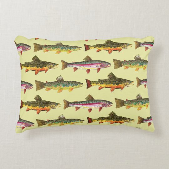 3 Trout Decor for Fly Fishing, Ichthyology Fans Accent Pillow