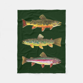 3 Trout for Fly Fishing Fishermen and Fisherwomen Fleece Blanket