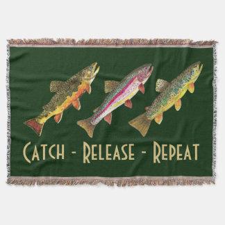 3 Trout for Fly Fishing Fishermen and Fisherwomen Throw Blanket