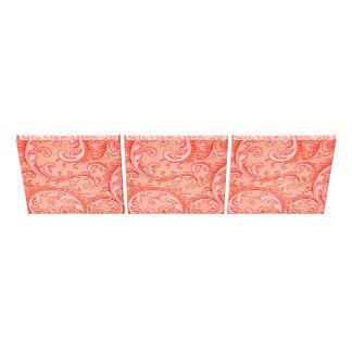 3 Vintage Swirls Curlicue Orange Canvas Prints