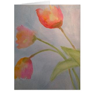3 Watercolor Flowers Greeting Card by Julie