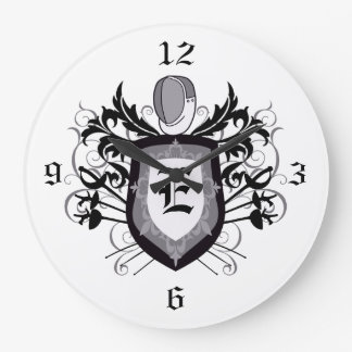 3 Weapons Crest Grey Fencing Clock
