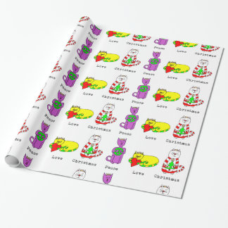 3 Wise Cats - Peace, Love, Christmas - Holiday Wrapping Paper