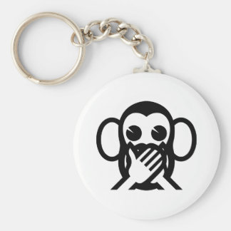 3 Wise Monkeys Iwazaru 言わざる Speak NO Evil Emoji Basic Round Button Keychain