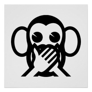 3 Wise Monkeys Iwazaru 言わざる Speak NO Evil Emoji Poster