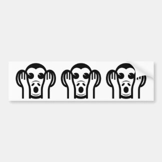 3 Wise Monkeys Kikazaru 聞かざる Hear NO Evil Emoji Bumper Sticker