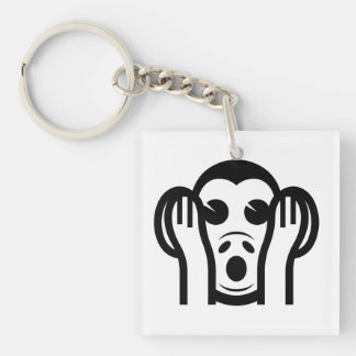 3 Wise Monkeys Kikazaru 聞かざる Hear NO Evil Emoji Double-Sided Square Acrylic Keychain