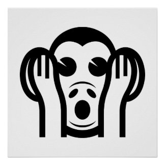 3 Wise Monkeys Kikazaru 聞かざる Hear NO Evil Emoji Poster