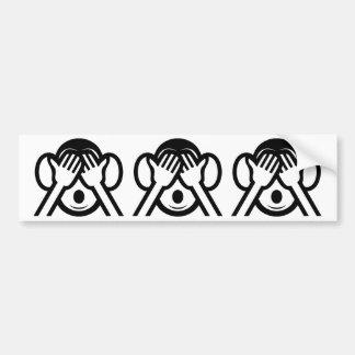 3 Wise Monkeys Mizaru 見ざる See NO Evil Emoji Bumper Sticker