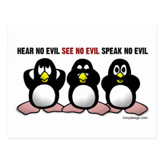 3 Wise Penguins Postcard