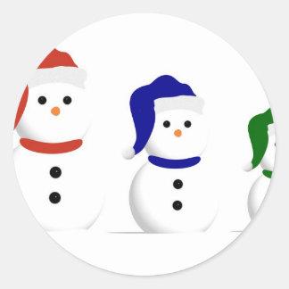 3 Wise Snowmen Classic Round Sticker