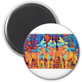 3 Wolves Singing 2 Inch Round Magnet