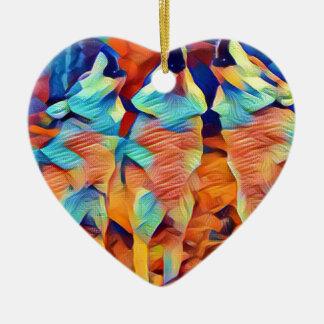 3 Wolves Singing Ceramic Heart Ornament