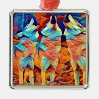 3 Wolves Singing Silver-Colored Square Ornament