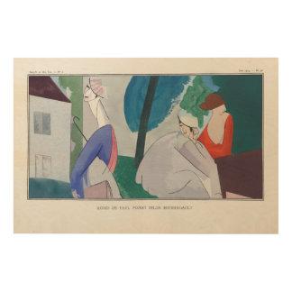 3 women, Parisian fashion, 1914 Wood Print