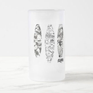 3 Woodcuts 16 Oz Frosted Glass Beer Mug