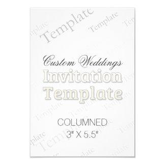 "3"" x5.5"" Columned Custom Wedding Invitation"