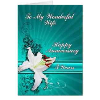 3 year Anniversary card for a wife