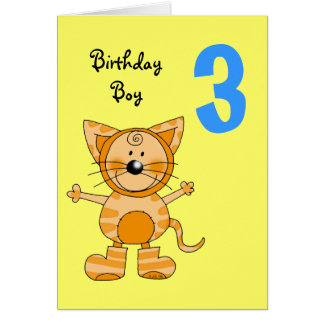 3 year old birthday boy greeting card